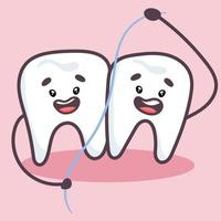 Cute teeth with dental floss. Prevention of tooth decay. vector