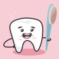 Happy tooth with a toothbrush. Oral care concept. vector