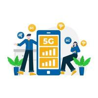 people enjoy 5g services for communication with cellphones and computers vector illustration, suitable for landing page, ui, website, mobile app, editorial, poster, flyer, article, and banner