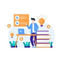 people enjoy online learning courses to add new skills vector illustration, suitable for landing page, ui, website, mobile app, editorial, poster, flyer, article, and banner