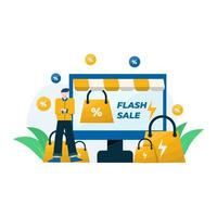 flash sale promos, discounts and purchase bonuses vector illustration, suitable for landing page, ui, website, mobile app, editorial, poster, flyer, article, and banner