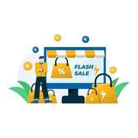Promociones de venta flash, descuentos y bonificaciones de compra, ilustración vectorial, adecuada para página de destino, interfaz de usuario, sitio web, aplicación móvil, editorial, póster, folleto, artículo y banner. vector