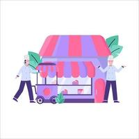 ilustración vectorial plana del cliente que compra un pastel para un cumpleaños en una pastelería en la carretera vector
