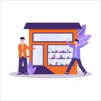 Flat vector illustration of shoe stores have a large sneaker collection and serve shoppers well
