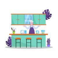 ilustración vectorial plana del chef prepara la comida bien para los compradores en los restaurantes vector