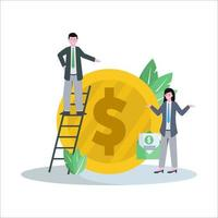 Flat vector illustration of affiliate marketing promotes products and gets a fantastic database and income