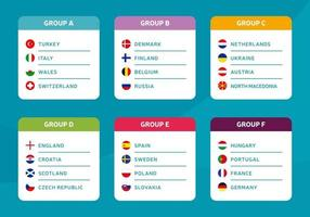 European football 2020 groups. tournament final stage groups vector stock illustration. 2020 European soccer tournament with background. Vector country flags
