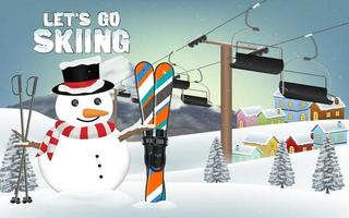 let's go skiing with snowman and ski equipment vector
