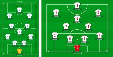Football team formation. Soccer or football field with 11 shirt with numbers vector illustration. soccer lineup