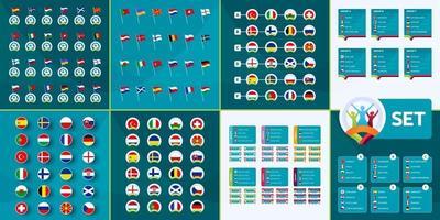 mega set de fútbol europeo 2020. banderas de países de fútbol europeo 2020, grupos de tean y partidos en el conjunto de vectores de fondo del torneo. mega colección de infografías