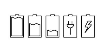 Battery symbol collection vector, set of battery icon design in white background. vector