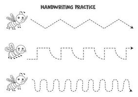 Tracing lines with black and white gnat and fly. Writing practice. vector