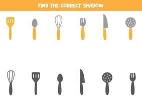 Encuentra la sombra correcta de los cubiertos de cocina. juego para niños. vector