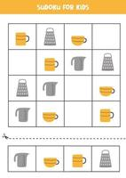 Sudoku game for kids with kitchen utensils. vector
