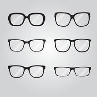 Set of different black eye glasses vector