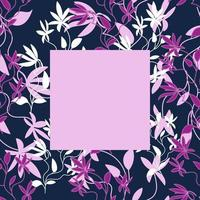 Floral frame template for photos, posters and banners, Exotic curly flowers in pink and purple tones, Hand draw style vector