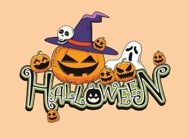 Cute Halloween Tittle Design Illustration vector