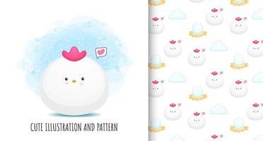 Cute chicken illustration and pattern Premium Vector
