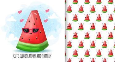 Cute watermelon illustration and pattern Premium Vector