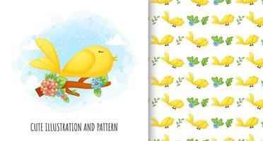 Cute bird illustration and pattern Premium Vector