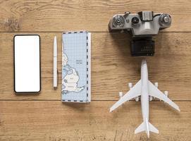 accesorios de viaje y cámara foto