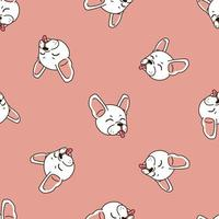 Vector cartoon character happy cute french bulldog seamless pattern background
