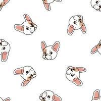 Vector cartoon character cute french bulldog seamless pattern background