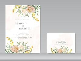 beautiful floral watercolor wedding invitation card set