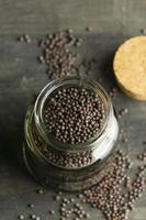 Seeds in jar high angle photo