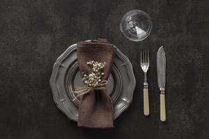 Brown elegant table setting photo