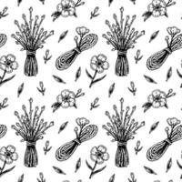 Spring flowers seamless pattern with hand drawn design elements. Vector illustration in sketch style.