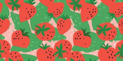 Vector seamless pattern with Strawberry. Trendy hand drawn textures. Modern abstract design