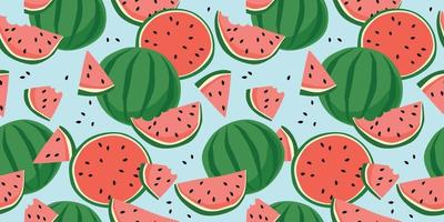 Vector seamless pattern with watermelons. Trendy hand drawn textures. Modern abstract design