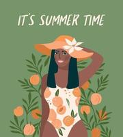 Vector illustration of afro woman in bright swimsuit. Design for summer concept and other
