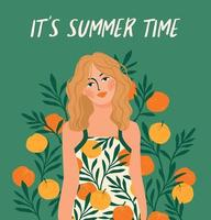 Vector illustration of woman in bright swimsuit. Design for summer concept and other