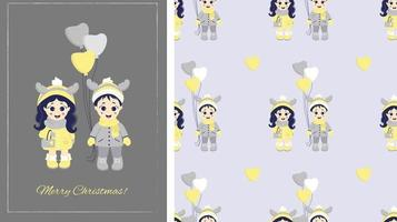 Kids winter. Seamless patterns and greeting card Merry Christmas. Couple - a boy and a girl with deer antlers on their heads and with balloons in winter clothes on gray background. Vector