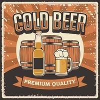 Retro vintage illustration vector graphic of Cold Beer fit for wood poster or signage
