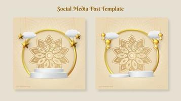 Ramadan or Eid mubarak square banner template with hanging ornaments and podium vector