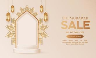 Eid mubarak sale promotion background with podium and lanterns vector