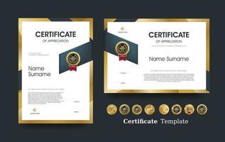 certificado de plantilla de reconocimiento y diseño de insignias premium de lujo. vector