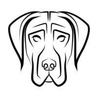 arte lineal en blanco y negro de la cabeza de perro gran danés. Buen uso de símbolo, mascota, icono, avatar, tatuaje, diseño de camiseta o cualquier diseño que desee. vector
