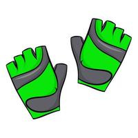 Green sports gloves, vector illustration, isolated on a white background.