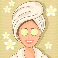 Girl at spa salon with cucumbers on eyes vector