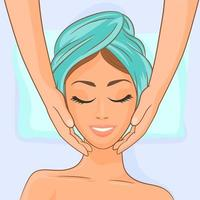 Young woman getting spa massage treatment vector