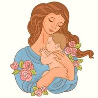 Mother with baby in her arms vector