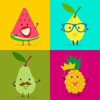 Pattern of colorful tropical fruits vector