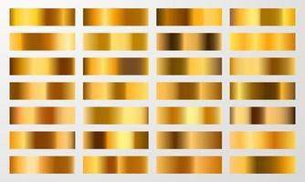 Establecer fondo de textura de lámina de color cromo degradado dorado. vector plantilla de oro, latón cobre y metal.