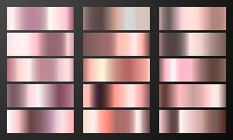 Set pink gradient Chrome color foil texture background. vector golden, copper brass and metal  template.
