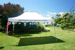 Outdoor birthday party setting photo