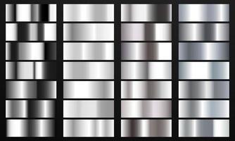 Establecer fondo de textura de lámina de color cromo degradado de color plateado. vector plantilla de oro, latón cobre y metal.